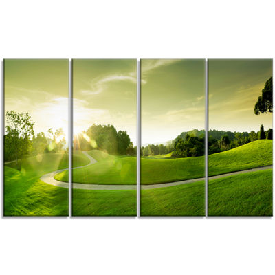 Designart Beautiful Green Valley Panorama Landscape Canvas Art Print - 4 Panels