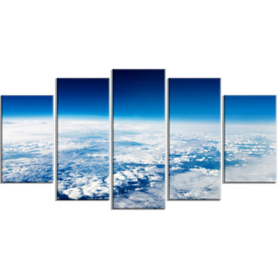 Designart Stunning View From Airplane Large Landscape Canvas Art Print - 5 Panels