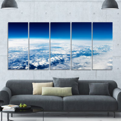 Stunning View From Airplane Landscape Canvas Art Print - 5 Panels