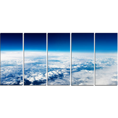 Designart Stunning View From Airplane Landscape Canvas Art Print - 5 Panels