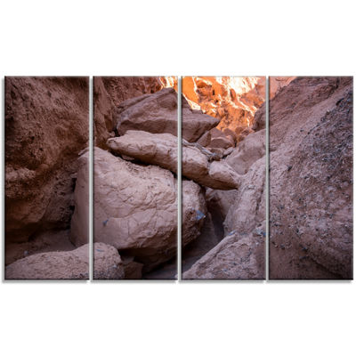 Designart Desert Mountains In Kazakhstan LandscapeCanvas Art Print - 4 Panels