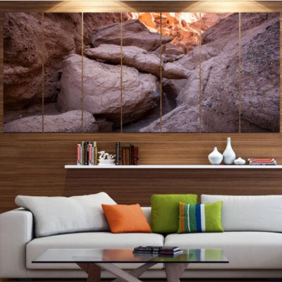 Designart Desert Mountains In Kazakhstan LandscapeCanvas Art Print - 5 Panels