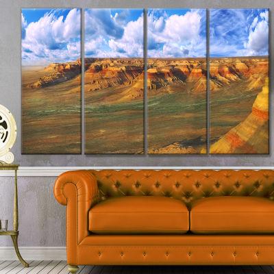 Designart Plateau Ustyurt Panorama Landscape Canvas Art Print - 4 Panels