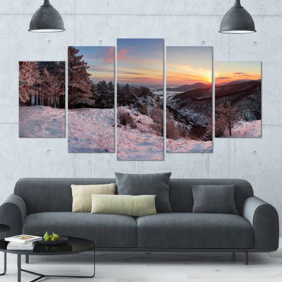 Designart Slovakia Panorama At Winter Landscape Large Canvas Art Print - 5 Panels