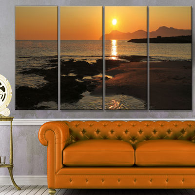 Designart Dawn On Majorca Panorama Landscape Canvas Art Print - 4 Panels
