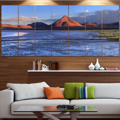 Designart Colorado Lagoon And Volcano Pabellon Landscape Canvas Art Print - 6 Panels