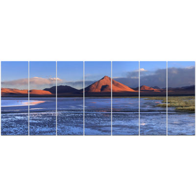Designart Colorado Lagoon And Volcano Pabellon Landscape Canvas Art Print - 7 Panels