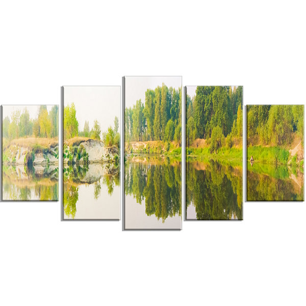 Design Art River And Forest Panorama Landscape Large Canvas Art Print - 5 Panels