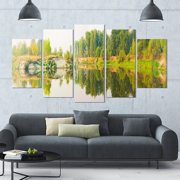 Designart River And Forest Panorama Landscape Large Canvas Art Print - 5 Panels