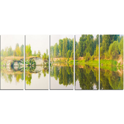 Designart River And Forest Panorama Landscape Canvas Art Print - 5 Panels