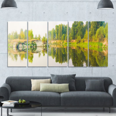 River And Forest Panorama Landscape Canvas Art Print - 5 Panels