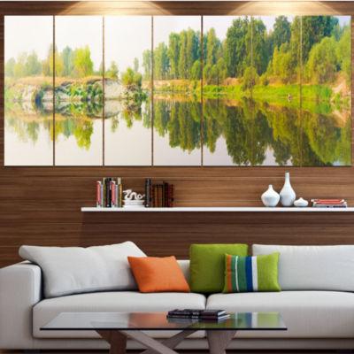 Designart River And Forest Panorama Landscape Canvas Art Print - 6 Panels