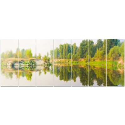 River And Forest Panorama Landscape Canvas Art Print - 7 Panels