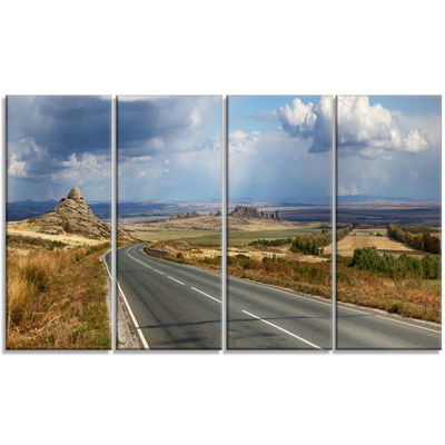 Designart Road In East Kazakhstan Panorama Landscape Canvas Art Print - 4 Panels