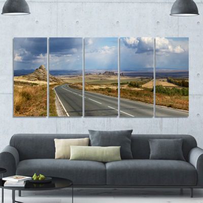 Designart Road In East Kazakhstan Panorama Landscape Canvas Art Print - 5 Panels