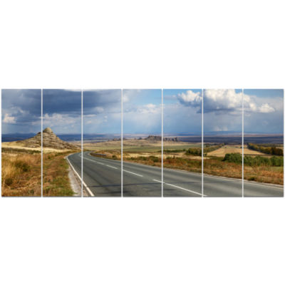 Road In East Kazakhstan Panorama Landscape CanvasArt Print - 7 Panels