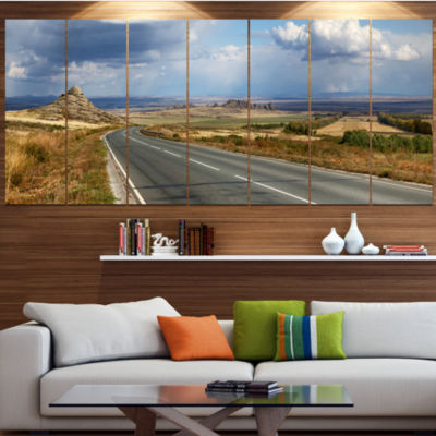 Designart Road In East Kazakhstan Panorama Landscape Canvas Art Print - 7 Panels