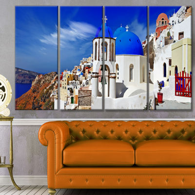 Designart Oia Village Greece Panorama Landscape Canvas Art Print - 4 Panels