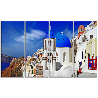 Oia Village Greece Panorama Landscape Canvas Art Print - 4 Panels