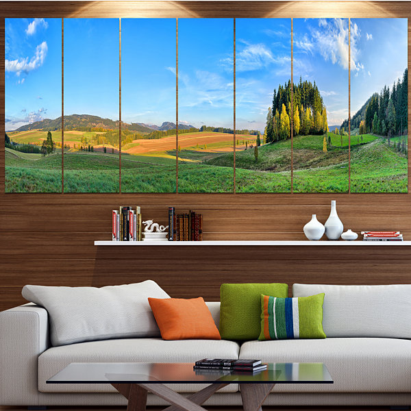 Design Art Long Panorama With Little Forest Landscape Canvas Art Print - 7 Panels