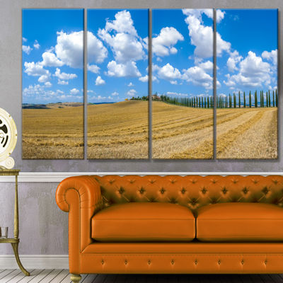 Designart Tuscany With Traditional Farm House Landscape Canvas Art Print - 4 Panels
