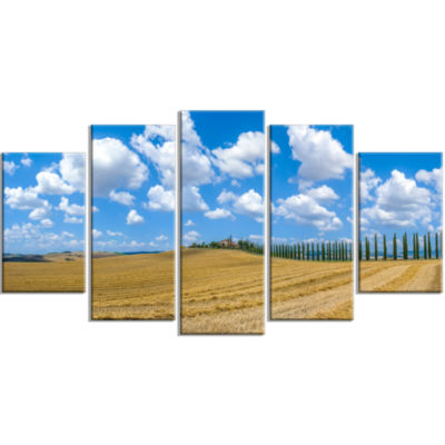 Tuscany With Traditional Farm House Landscape Large Canvas Art Print - 5 Panels