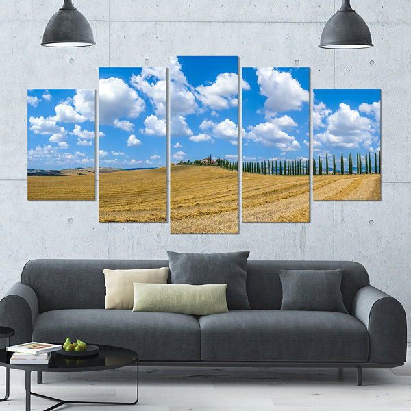 Designart Tuscany With Traditional Farm House Landscape Large Canvas Art Print - 5 Panels