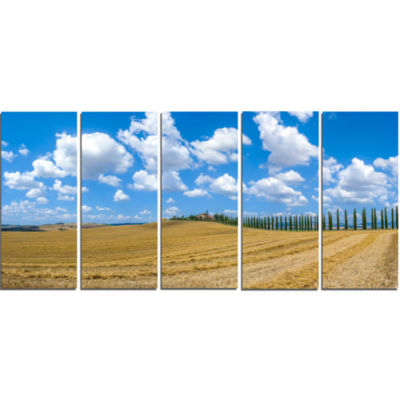 Tuscany With Traditional Farm House Landscape Canvas Art Print - 5 Panels