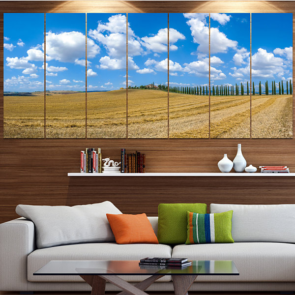 Designart Tuscany With Traditional Farm House Landscape Canvas Art Print - 6 Panels