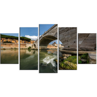 Designart Cestius Bridge Over Tiber River Landscape Large Canvas Art Print - 5 Panels