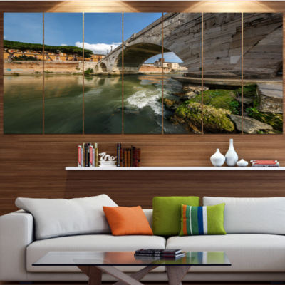 Designart Cestius Bridge Over Tiber River Landscape Canvas Art Print - 7 Panels