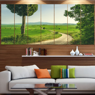 Tuscan Place In Rural Area Landscape Canvas Art Print - 4 Panels