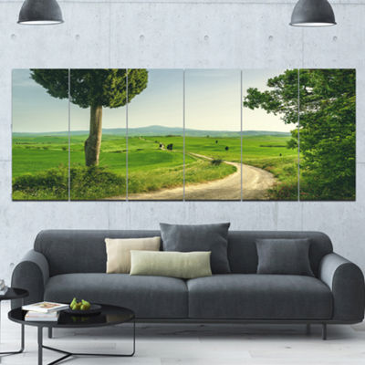 Designart Tuscan Place In Rural Area Landscape Canvas Art Print - 6 Panels