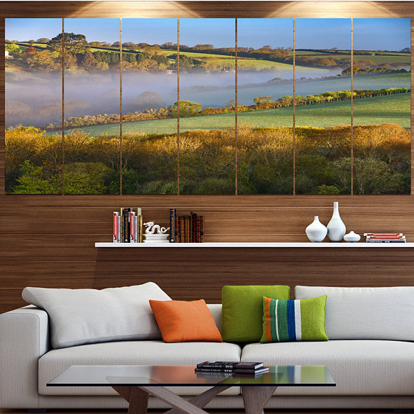 Design Art Cornwall South West England Landscape Canvas Art Print - 4 Panels