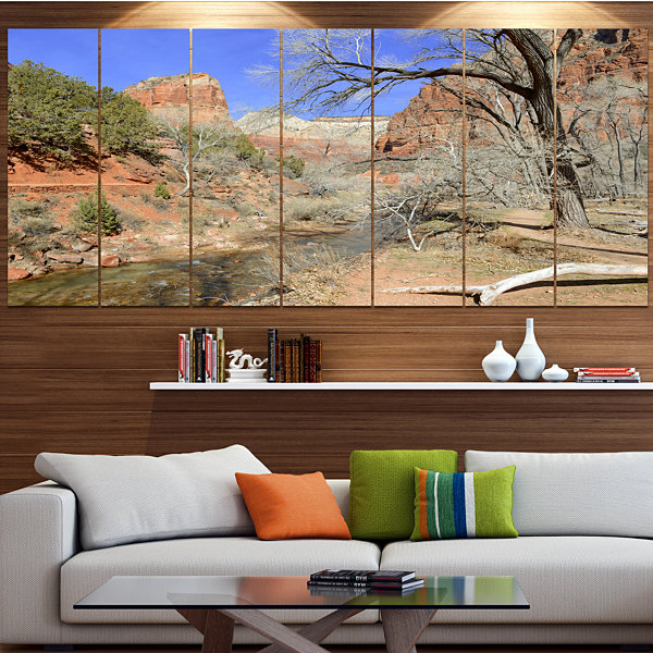Design Art Red Rock Mountain In Zion Park Landscape Canvas Art Print - 5 Panels