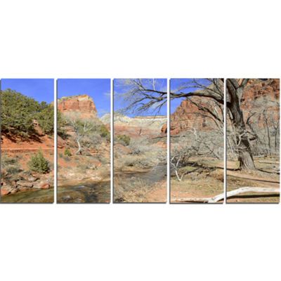 Designart Red Rock Mountain In Zion Park LandscapeCanvas Art Print - 5 Panels