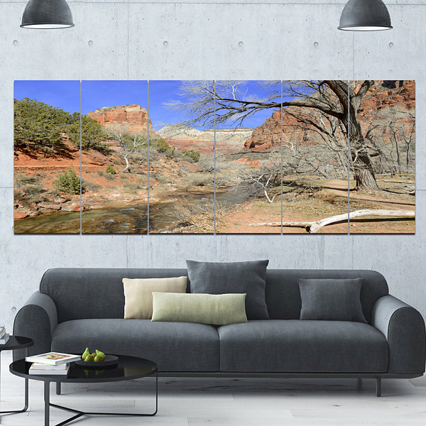 Designart Red Rock Mountain In Zion Park LandscapeCanvas Art Print - 6 Panels