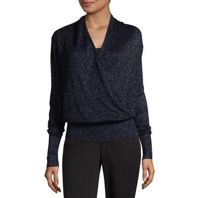 Liz Claiborne Long Sleeve Metallic Surplice Sweater