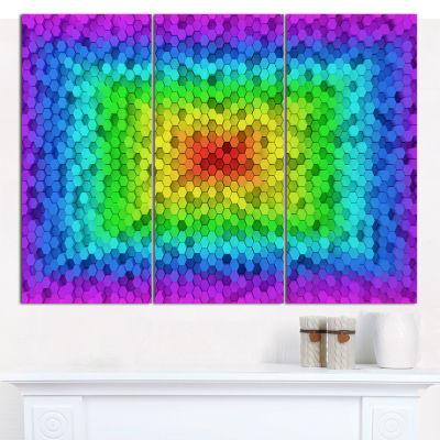 Designart Random Elevated Hexagon Columns AbstractArt On Canvas - 3 Panels