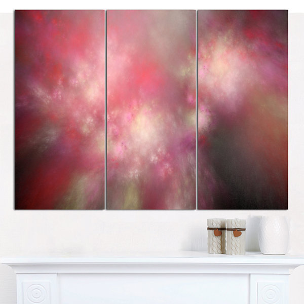 Designart Red Blur Sky With Stars Abstract CanvasArt Print - 3 Panels
