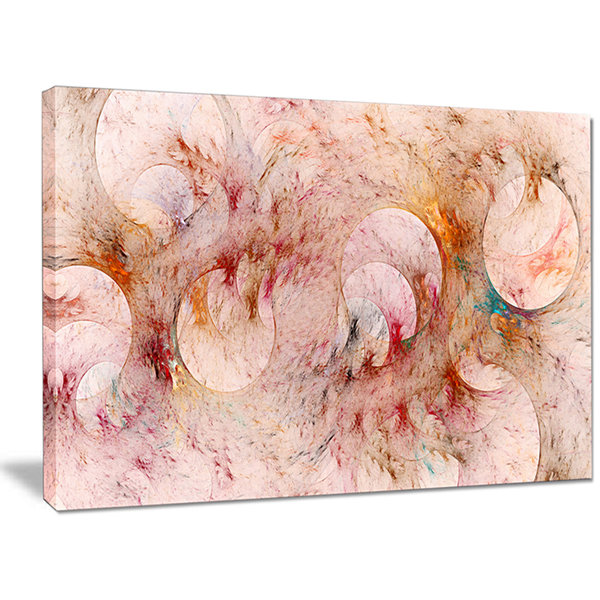 Designart Red Circles Fractal Texture Abstract Canvas Art Print