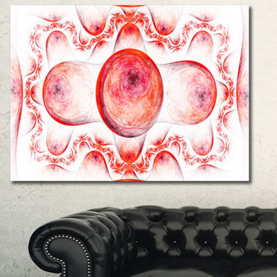 Designart Red Exotic Pattern On White Abstract ArtOn Canvas