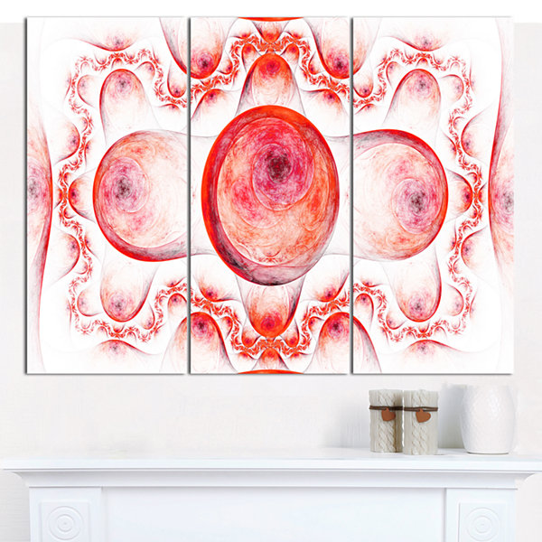 Designart Red Exotic Pattern On White Abstract ArtOn Canvas - 3 Panels