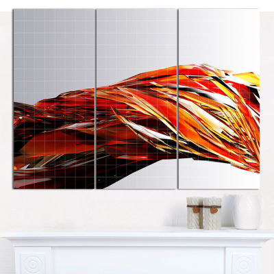 Designart Red Faceted Crystal Texture Abstract Canvas Art Print - 3 Panels