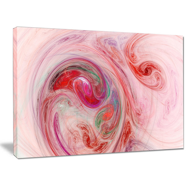 Designart Red Fractal Abstract Illustration Abstract Canvas Wall Art