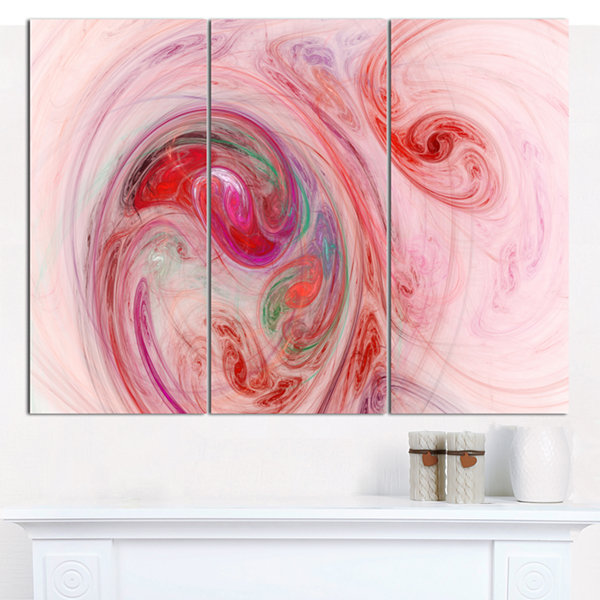Designart Red Fractal Abstract Illustration Abstract Canvas Wall Art - 3 Panels