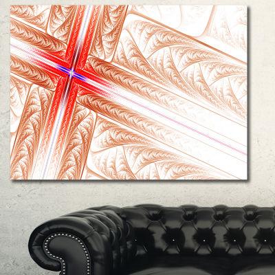 Designart Red Fractal Cross Design Abstract Art OnCanvas