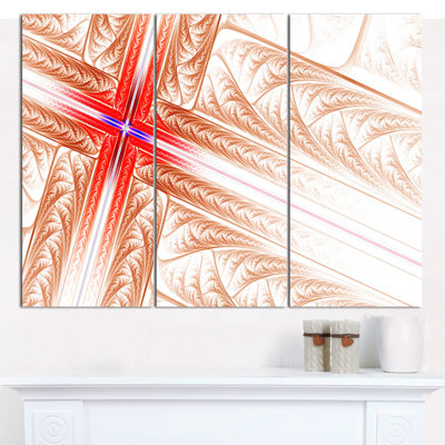Designart Red Fractal Cross Design Abstract Art OnCanvas - 3 Panels