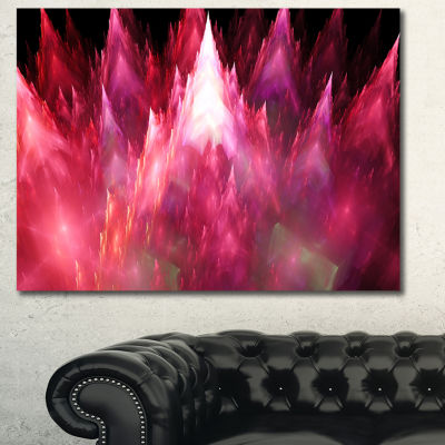 Designart Red Fractal Crystals Design Abstract Canvas Art Print