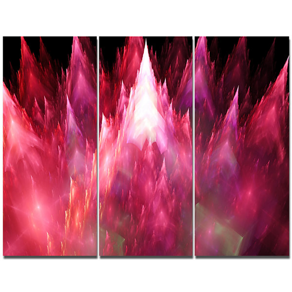 Designart Red Fractal Crystals Design Abstract Canvas Art Print - 3 Panels